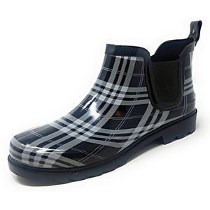 Women Ankle Rubber Rain Boots Booties, Black Plaid